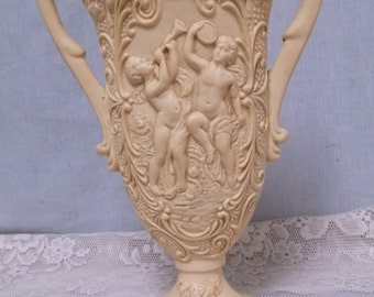 Large Faux Ivory Vase, Urn, Classical, Angels, Cherubs, Putti, 13-1/2""