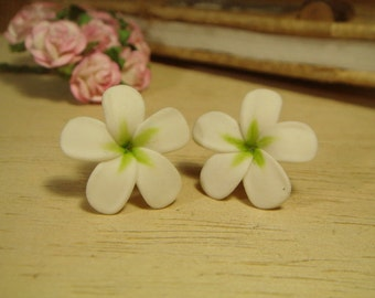 Sweet White Plus Green Plumeria Frangipani Stud Earrings (E158)
