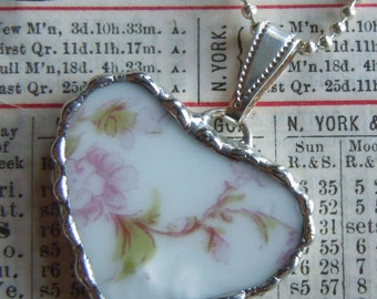 Fiona & The Fig Victorian Era-French Limoges - Broken China Soldered Necklace Pendant Charm-Bracelet Charm - Jewelry