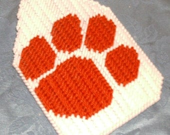Clemson Paw Print Flyswatter Cover Plastic Canvas Pattern