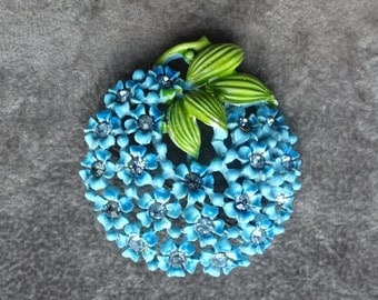 Vintage Japanned Metal Blue and Green Floral Brooch, Rhinestone Centers