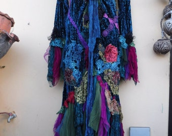 """20%OFF RESERVED balance owing...gothic steampunk bohemian jacket gypsy coat hippy velvet  ....work of art!! medium to 44"""" bust...."""