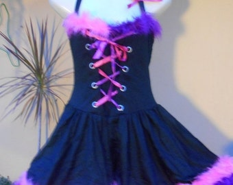 """20%OFF COS PLAY funky laed up front wenchy style dress with flouro pink.purple boa trim..small to 36"""" bust.."""