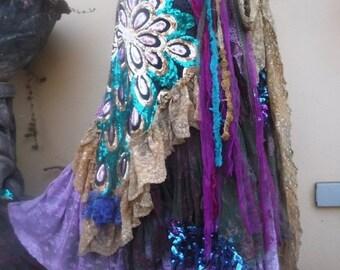 "20%OFF wedding bohemian boho gypsy lagenlook OAK shabby mermaid wrapskirt...40"" across plus ties."