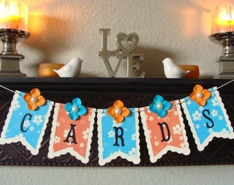 CARDS Banner - Floral Pennants in Persimmon Orange & Turquoise