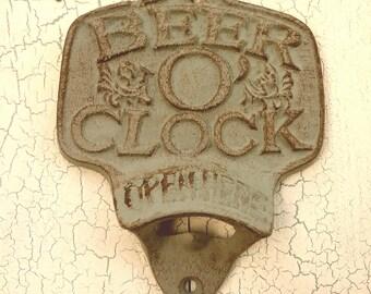 Beer O Clock Bottle Opener, cast iron