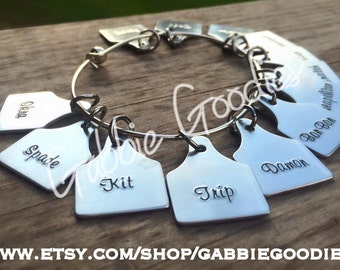 Custom Cattle Ear Tag bracelet, livestock, unique gift, personalized