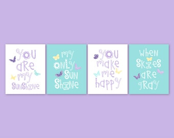 Girl Nursery Decor, Purple Aqua Nursery CANVAS Art, Butterfly art, You Are My Sunshine, Playroom decor, nursery, baby gift, YassisPlace
