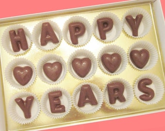 Happy Years Custom Number Anniversary Gift for Boyfriend BF Girlfriend GF Men Women Her Him Couple Parents Large Milk Chocolate Letters