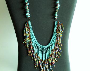 Native American necklace, turquoise, dark green, multicolor
