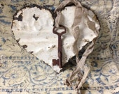 Heart Tin key to my heart   Chippy Paint  Rust Shabby Chic door hanging tin ceiling valentines day