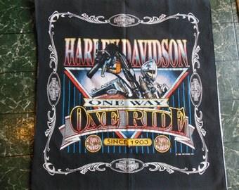 Harley Davidson Scarf, 1992 Bandana, Cotton Head Kerchief