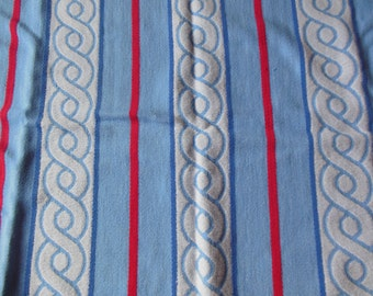 Thick Blanket Fabric, Blue , Red with White Chain Print