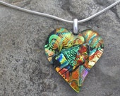 Glass Heart Pendant Fused Dichroic Glass Dichroic Heart Necklace