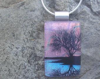 Sunset Reflection Tree Necklace Dichroic Fused Glass Lake Tree Pendant