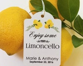 LUCRECIA'S 50 Personalized Printed WEDDING FAVOR Tags Limoncello Favors