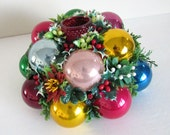 Colorful Vintage Christmas Bulb Centerpiece and Candle Holder, 60s 70s