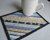 Upcycled Mug Rug, Patchwork Selvage Coaster, Cotton Placemat, Coworker gift, Mini Quilt