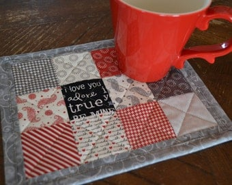 Valentine Mug Rug, Love, Red Black Gray Mini Placemat, Patchwork Mug Mat, red hearts