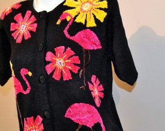Pink Flamingos On Black Groovy Sweater