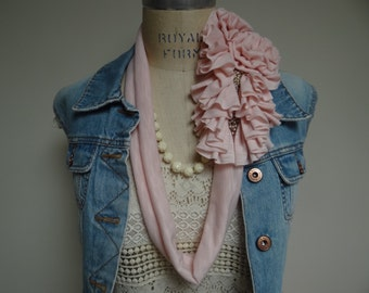 Pale Pink Ruffle Scarf Necklace