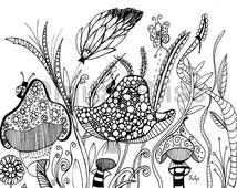 INSTANT DOWNLOAD Adult Coloring Page, Design Colouring Page, Mushrooms Coloring Page , Kids Colouring Page, Kids Craft Activity