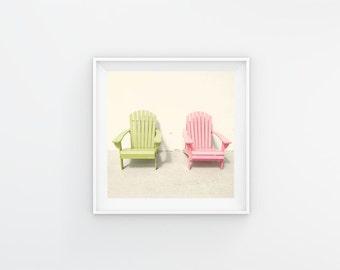 Chair Print, Adirondack Chair Photography Print, Adirondack Art, Lime Green, Pink Art, Colorful Wall Art, Beach House Decor, Florida Art