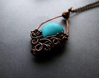 Blue Drop Necklace, Boho Jewelry, Aqua Necklace,  Elvish Fantasy Blue Water Drop Necklace