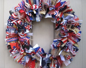 Patriotic Wreath, July 4th Wreath, 4th July Patriotic Decor, Red White Blue Wreath, Stars Stripes Wreath, Rag Wreaths, Fourth of July Wreath