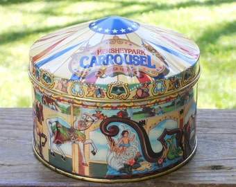 Hershey Park Carrousel Metal Tin 1996 Vintage Carnival Horses Graphics Carousel