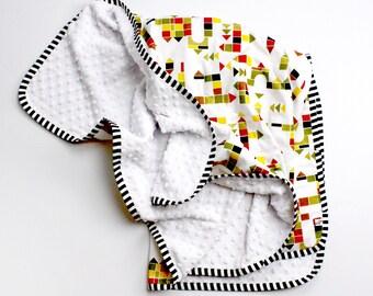 Organic Minky Baby blanket - Gender neutral LEGO baby blanket - modern baby bedding