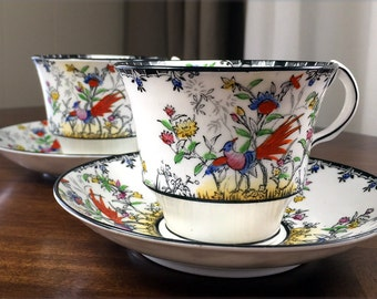 Matching Tea Cups, Cups and Saucers, 2 Matching, Vintage Teacups, 1932 Melba, Hand Painted Birds 13026