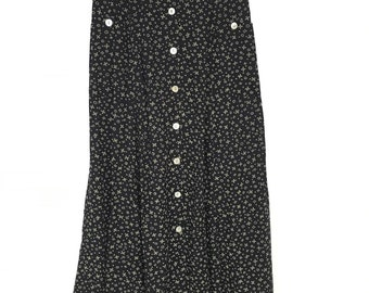 vintage bohemian black floral maxi skirt