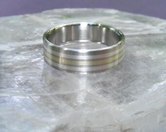 Cobalt Chrome 14K Triple Element Wedding Band Ring