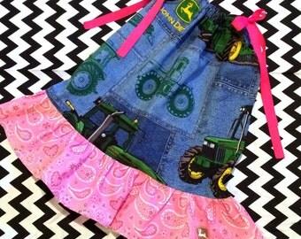 Girls Pillowcase Ruffle Dress - Pick your size 18 24 months 2 3 4 5 6 7 8 9 10 years - Blue jean farm girl pink John Deere tractors