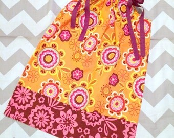 Girls Pillowcase Dress - Sunburst - Pick your size 18 24 months 2 3 4 5 6 7 8 9 10 years