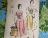Vintage Vogue 8345 1950s Pin Tucked Bodice Day Dress 34 Inch Bust