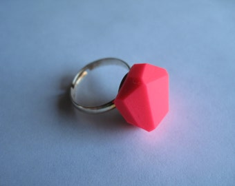 Hot Pink Geometric Ring