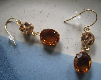 Peach/Amber Gemstone Dangle Earrings