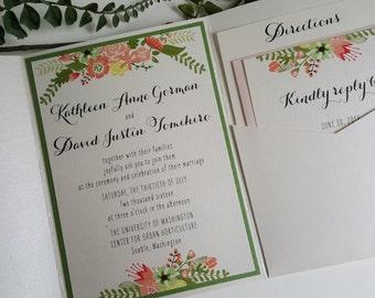 Whimsical Floral Pocketfold Invitation Sample