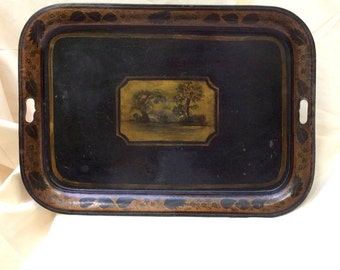 Antique HUGE Tolework Tea Tray - Americana -19th C. Toleware - Metal Serving Tray - Collectible Americana