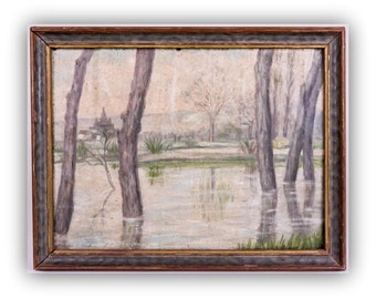 Antique Oil Painting - European Landscape Painting - Impresionist Style Wall Art- Signed and Framed Art- Cozy Cottage Style