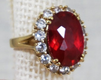 Jackie Kennedy Camrose & Kross Sterling Silver with 18K Gold Plating Ruby Crystal Cocktail Ring