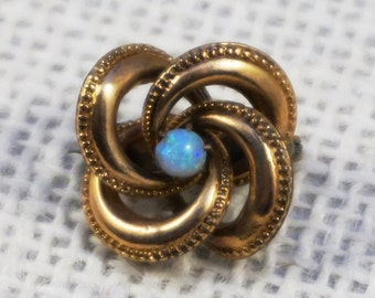 Antique Victorian Opal Rolled Gold Lovers Knot Brooch Scatter Pin