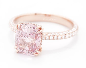 sale - CERTIFIED - GIA Certified 3.16 CT Peach Pink Sapphire & Diamond Engagement Ring 18K Rose Gold