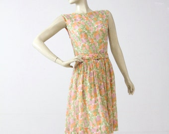 1960s floral dress with belt, watercolor garden party dress, vintage sundress