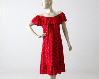 SALE 1960s polka dot sundress, vintage red off shoulder dress
