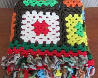 Vintage 80's Boho Multi-Colored Solid Granny Square Afghan Throw with Tassels - 80's Lap Blanket - Coverlet - Couch Throw - Outdoor Rug