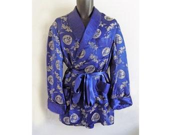 1950s -60s Smoking Jacket from China / satin/ large/ Squirel brand / Rayon / Playboy / lounge wear / 48