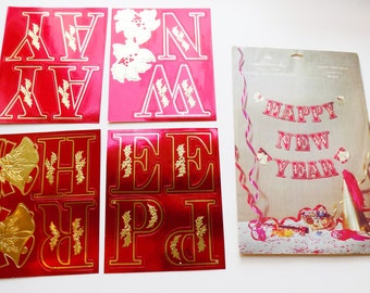 1950s -60s Unused Hallmark NEW YEAR's foil letter banner / deadstock / Original packaging